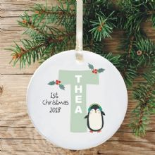 Ceramic Keepsake Baby Girl's Christmas Tree Decoration - Letter Penguin Design